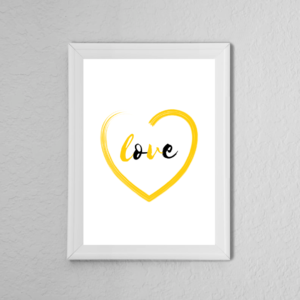 Yellow 'Love' Heart Quote Poster Print