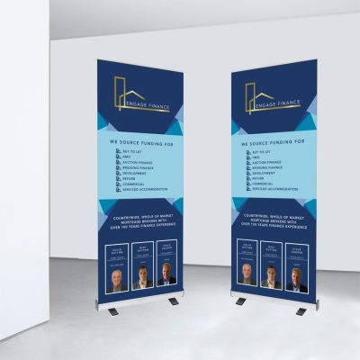 Blue Engage Finance vertical roller banner